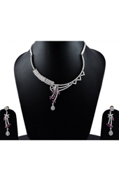 Vogue Crafts and Designs Pvt. Ltd. manufactures American Diamonds Dark Pink Necklace Earrings set at wholesale price.