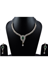 Vogue Crafts and Designs Pvt. Ltd. manufactures The Emerald Charm Earrings-Necklace set at wholesale price.