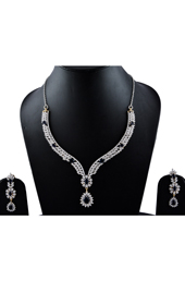 American Diamonds Dark Blue Necklace Earrings set