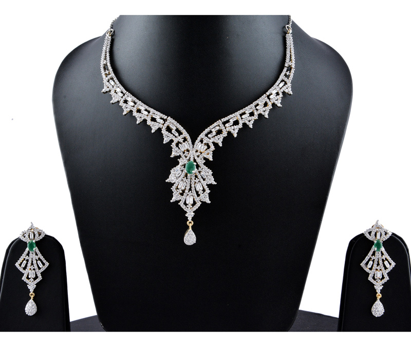 Vogue Crafts & Designs Pvt. Ltd. manufactures Green Emerald Earrings Necklace set at wholesale price.