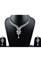 Vogue Crafts and Designs Pvt. Ltd. manufactures Green Emerald Earrings Necklace set at wholesale price.
