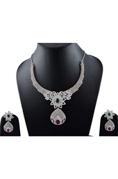 Vogue Crafts and Designs Pvt. Ltd. manufactures Rubi and Emerald Earrings-Necklace Masterpiece at wholesale price.