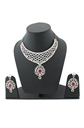 Vogue Crafts and Designs Pvt. Ltd. manufactures Pearls Rubi and Emerald Earrings-Necklace set at wholesale price.