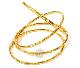 Vogue Crafts and Designs Pvt. Ltd. manufactures Harmoniously Together Set of Golden Bangles at wholesale price.