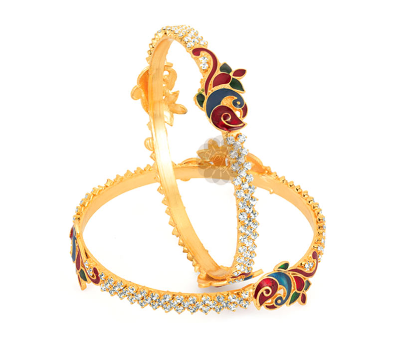 Latest Design Jewelry - Good Fortune Peacock Pair of Bangles .