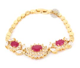 Vogue Crafts and Designs Pvt. Ltd. manufactures Prosperous Red Stone Bracelet at wholesale price.
