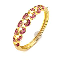 Vogue Crafts and Designs Pvt. Ltd. manufactures Pink Stone Golden Hand Cuff at wholesale price.
