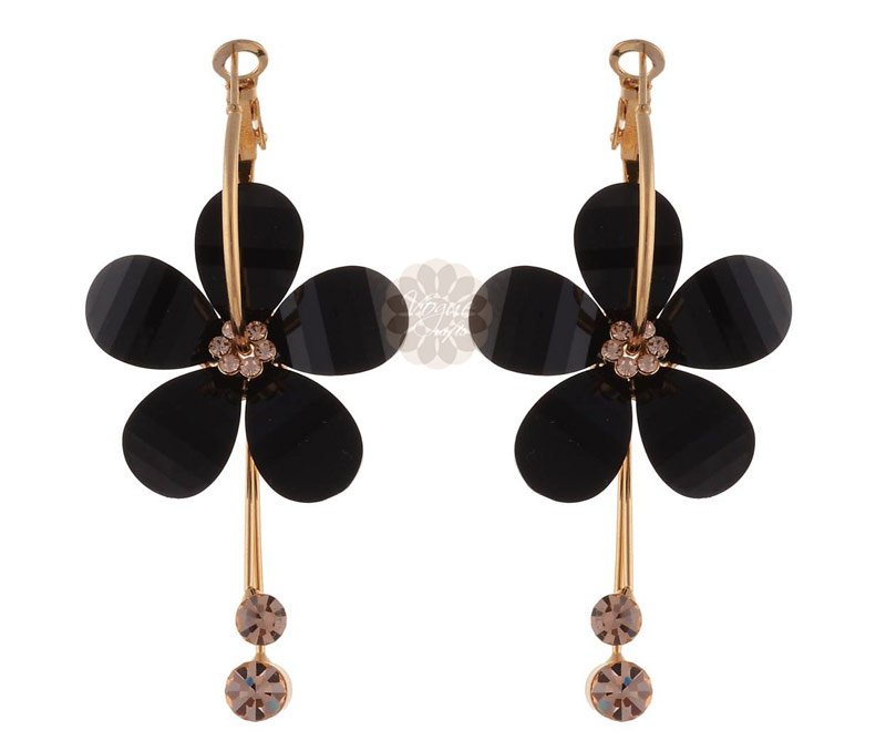 Vogue Crafts & Designs Pvt. Ltd. manufactures Black Floral Drop Earrings at wholesale price.