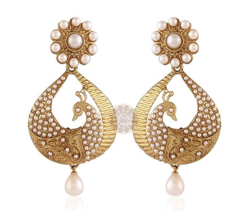 Vogue Crafts & Designs Pvt. Ltd. manufactures Stately Peacock Earrings at wholesale price.