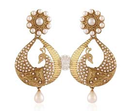 Vogue Crafts and Designs Pvt. Ltd. manufactures Stately Peacock Earrings at wholesale price.