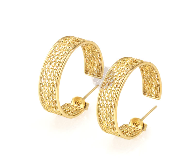 Latest Design Jewelry - Thick Gold Plated Earrings .