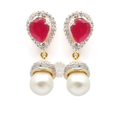 Vogue Crafts and Designs Pvt. Ltd. manufactures Rose Pearl Drop Earrings at wholesale price.
