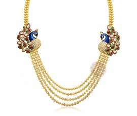 Vogue Crafts and Designs Pvt. Ltd. manufactures Peacock Ball Chain Necklace at wholesale price.