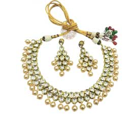 Vogue Crafts and Designs Pvt. Ltd. manufactures Dazzling Pearl Gold Plated Necklace at wholesale price.