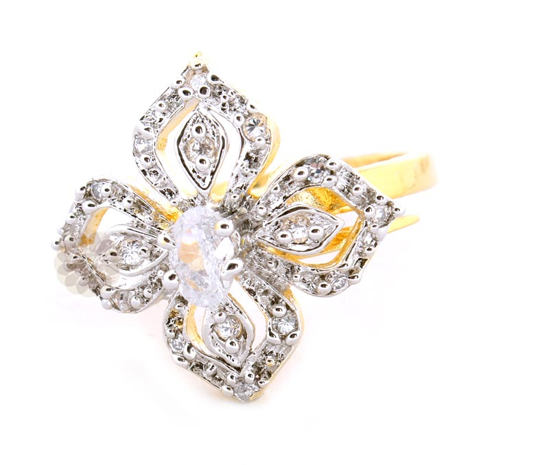 Vogue Crafts & Designs Pvt. Ltd. manufactures Four Leaf Gold Plated Stoned Ring at wholesale price.
