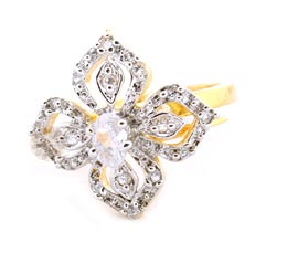 Vogue Crafts and Designs Pvt. Ltd. manufactures Four Leaf Gold Plated Stoned Ring at wholesale price.