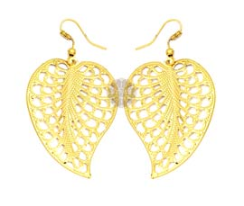 Vogue Crafts and Designs Pvt. Ltd. manufactures Leaf Shaped Gold-tone Earrings at wholesale price.