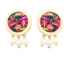 Vogue Crafts and Designs Pvt. Ltd. manufactures Vogue Gold-plated Woven Earrings at wholesale price.