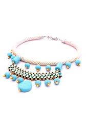 Vogue Crafts and Designs Pvt. Ltd. manufactures Blue Beads and Chain Necklace at wholesale price.