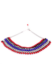 Vogue Crafts and Designs Pvt. Ltd. manufactures Rows of Blue and Red Necklace at wholesale price.