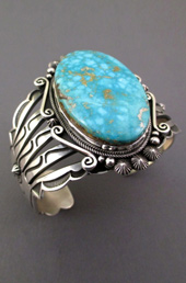 Turquoise Stone Thick Silver Cuff