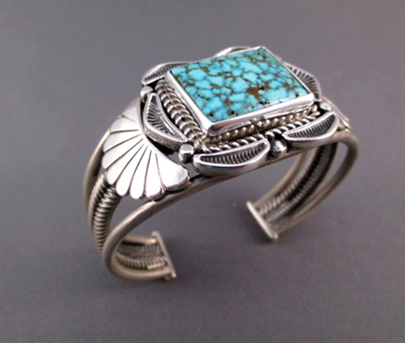 Vogue Crafts & Designs Pvt. Ltd. manufactures Square Turquoise Stone Silver Cuff at wholesale price.