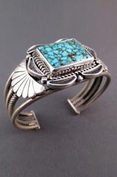 Square Turquoise Stone Silver Cuff