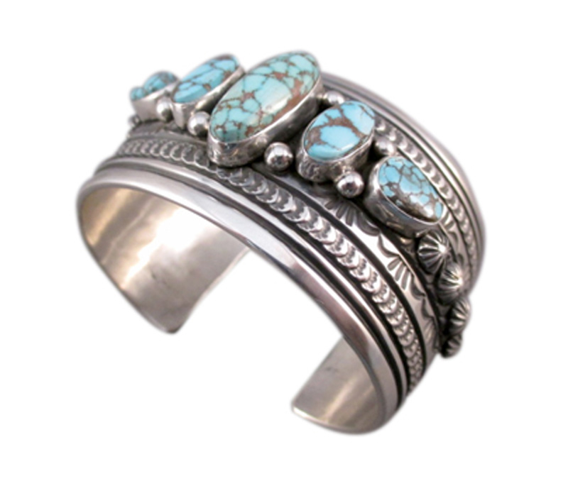 Vogue Crafts & Designs Pvt. Ltd. manufactures Turquoise Stone Wide Silver Cuff at wholesale price.