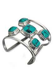 Vogue Crafts and Designs Pvt. Ltd. manufactures Turquoise Stone Silver Cuff at wholesale price.