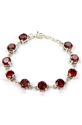 Vogue Crafts and Designs Pvt. Ltd. manufactures Red Stones Silver Bracelet at wholesale price.