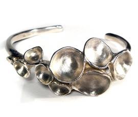 Silver Concave Disc Cuff