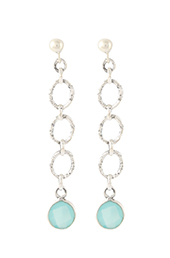 Vogue Crafts and Designs Pvt. Ltd. manufactures Aquamarine Stone Dangler Silver Earrings at wholesale price.