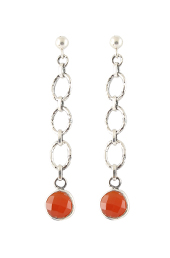 Vogue Crafts and Designs Pvt. Ltd. manufactures Orange Stone Dangler Silver Earrings at wholesale price.