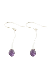 Vogue Crafts and Designs Pvt. Ltd. manufactures Purple Stone Drops Silver Earrings at wholesale price.