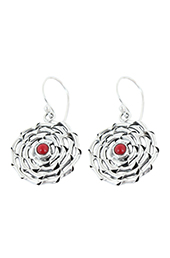 Vogue Crafts and Designs Pvt. Ltd. manufactures Red Stone Illusion Silver Earrings at wholesale price.