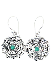 Vogue Crafts and Designs Pvt. Ltd. manufactures Textured Stone Illusion Silver Earrings at wholesale price.