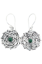 Vogue Crafts and Designs Pvt. Ltd. manufactures Green Stone Illusion Silver Earrings at wholesale price.