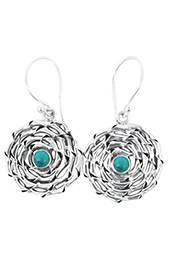 Vogue Crafts and Designs Pvt. Ltd. manufactures Turquoise Stone Illusion Silver Earrings at wholesale price.