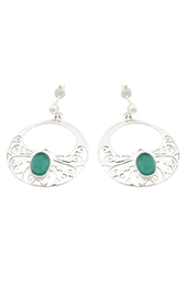 Vogue Crafts and Designs Pvt. Ltd. manufactures Green Stone Silver Earrings at wholesale price.