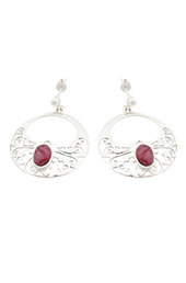 Vogue Crafts and Designs Pvt. Ltd. manufactures Maroon Stone Silver Earrings at wholesale price.