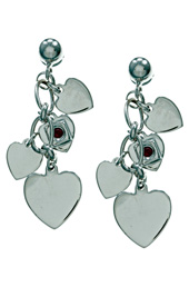 Silver Heart Dangler Earrings