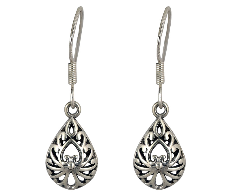 Vogue Crafts & Designs Pvt. Ltd. manufactures Antique Teardrop Silver Earrings at wholesale price.