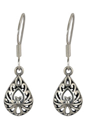 Antique Teardrop Silver Earrings