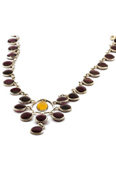 Maroon Stone Silver Necklace