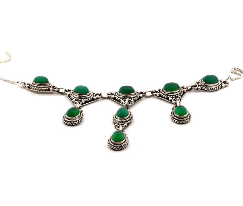 Vogue Crafts & Designs Pvt. Ltd. manufactures Green Stone Drop Silver Necklace at wholesale price.