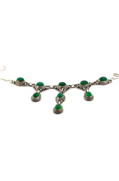 Green Stone Drop Silver Necklace