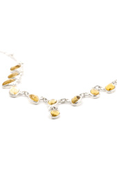 Golden Yellow Stone Silver Necklace