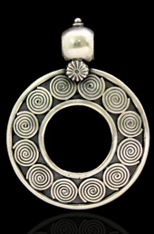 Vogue Crafts and Designs Pvt. Ltd. manufactures Spiral Circle Silver Pendant at wholesale price.