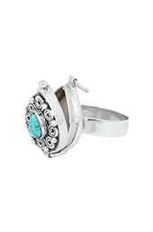 Vogue Crafts and Designs Pvt. Ltd. manufactures Turquoise Pear-Shaped Pill-box Ring at wholesale price.