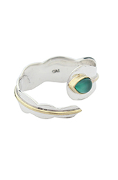 Vogue Crafts and Designs Pvt. Ltd. manufactures Green Stone Bypass Silver Ring at wholesale price.